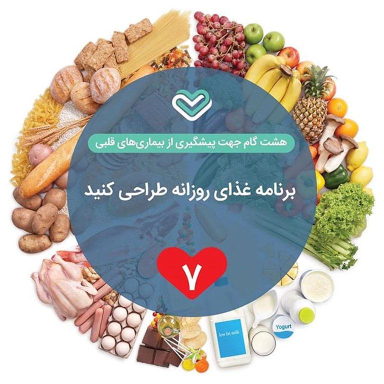 گام هفتم: منوی غذای روزانه طراحی کنید